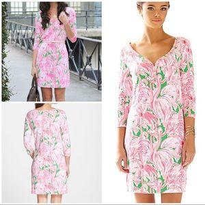 Lilly Pulitzer Flamingos Palmetto V-Neck Tee Dress
